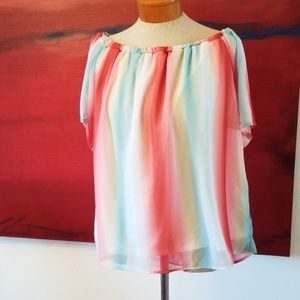 Dra rainbow sheer sleeve off the shoulder top